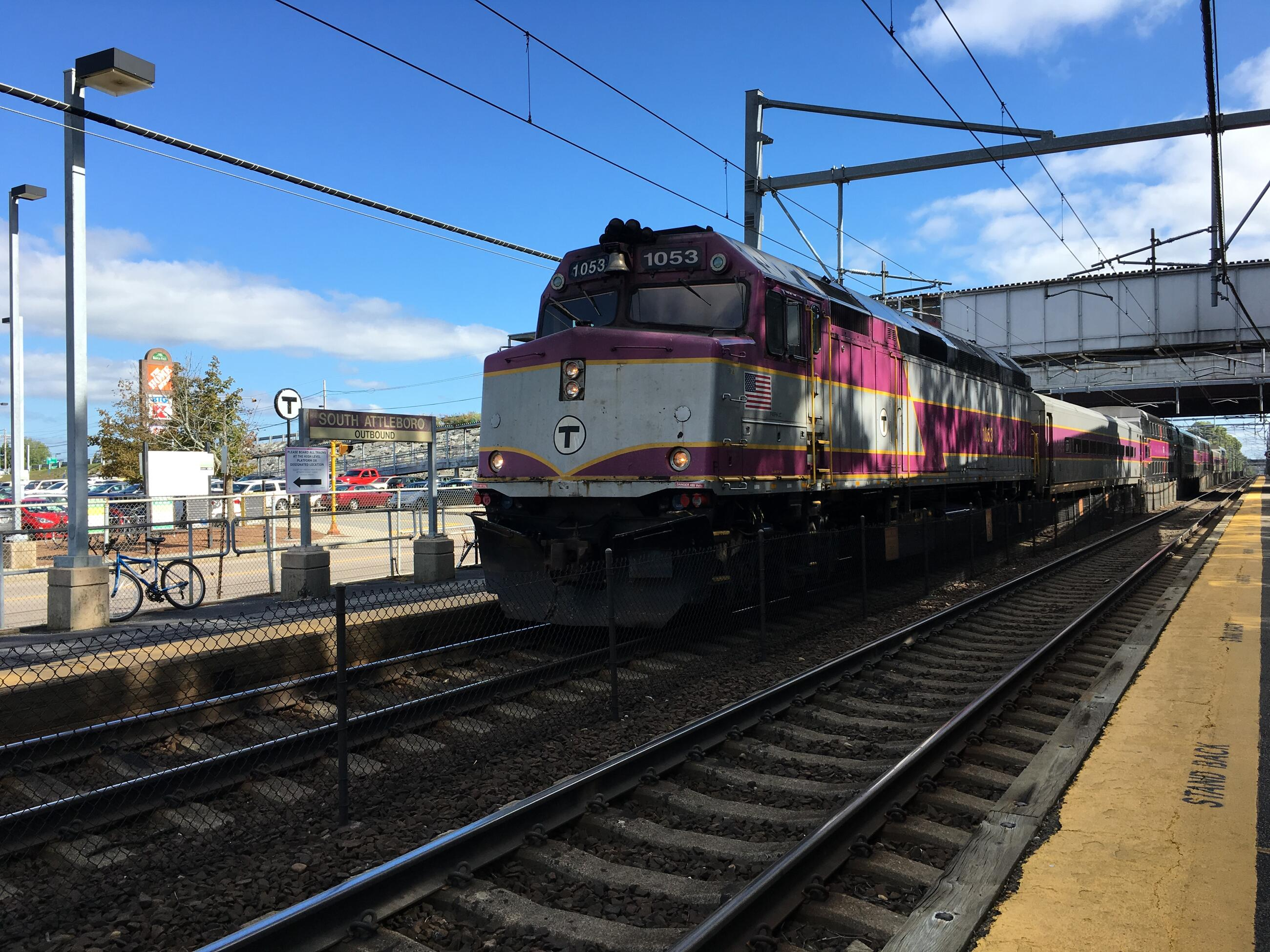 View of outbound commuter rail train stopped at the South Attleboro station.