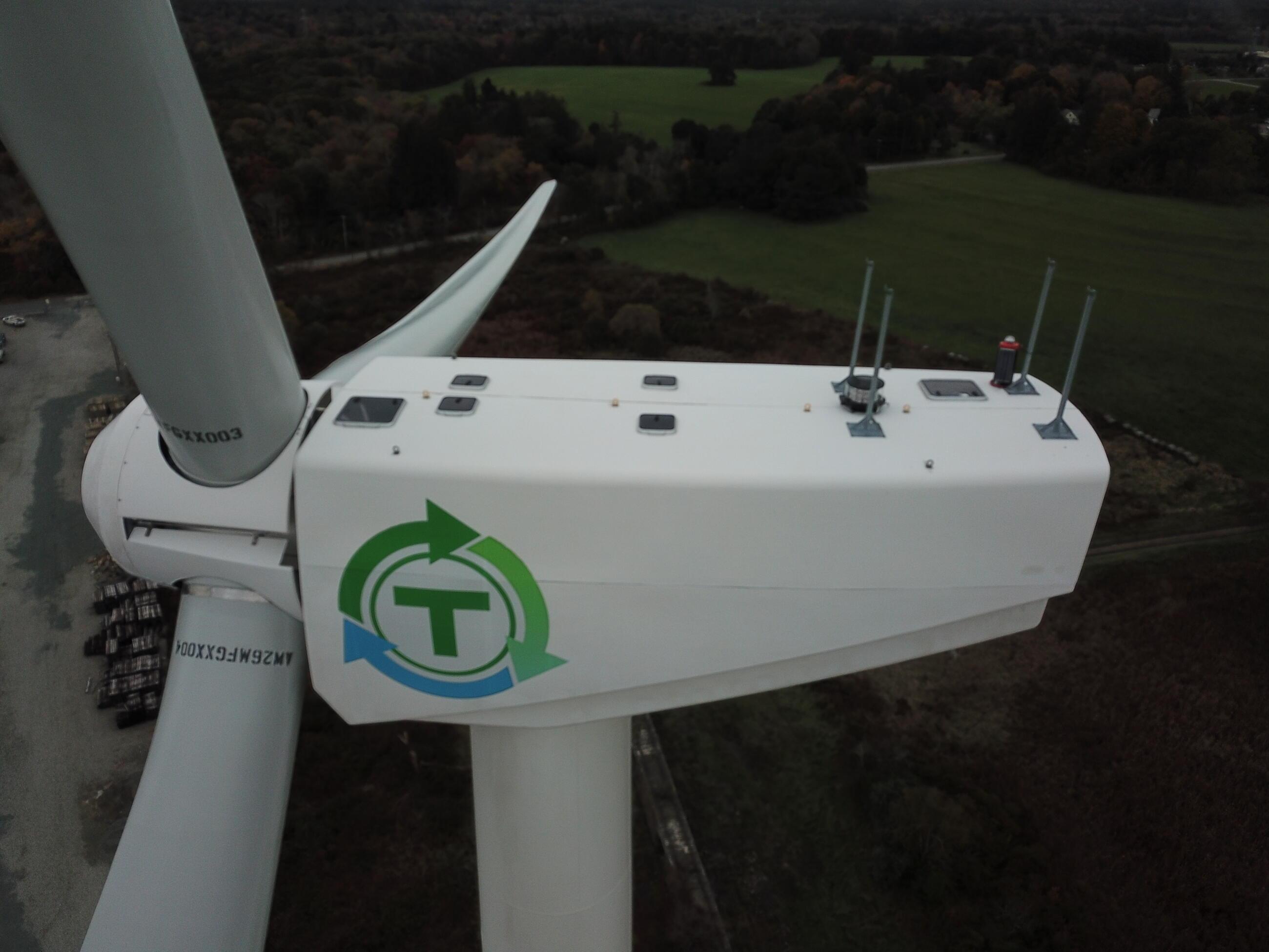 Close up view of the MBTA's wind turbine in Kingston Massachusetts.