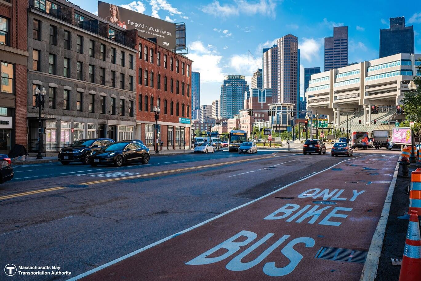 View of the shared bus/bike lane in Government Center Boston.