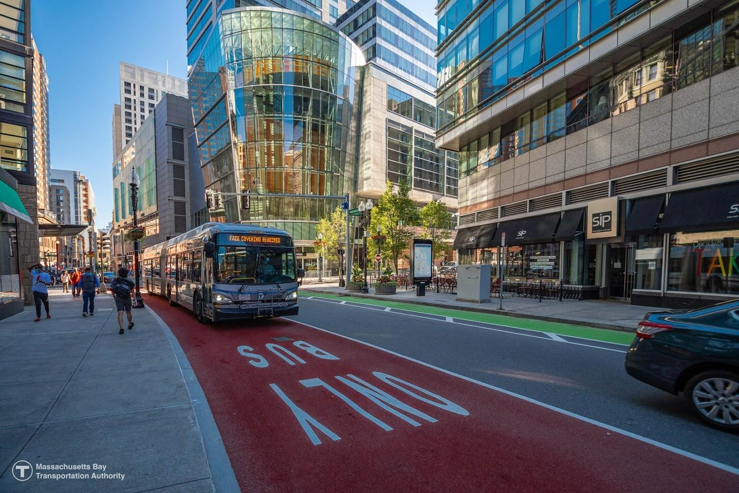 A Silver Line Bus is seen traveling on a dedicated bus lane on Washington Street in Downtown Boston