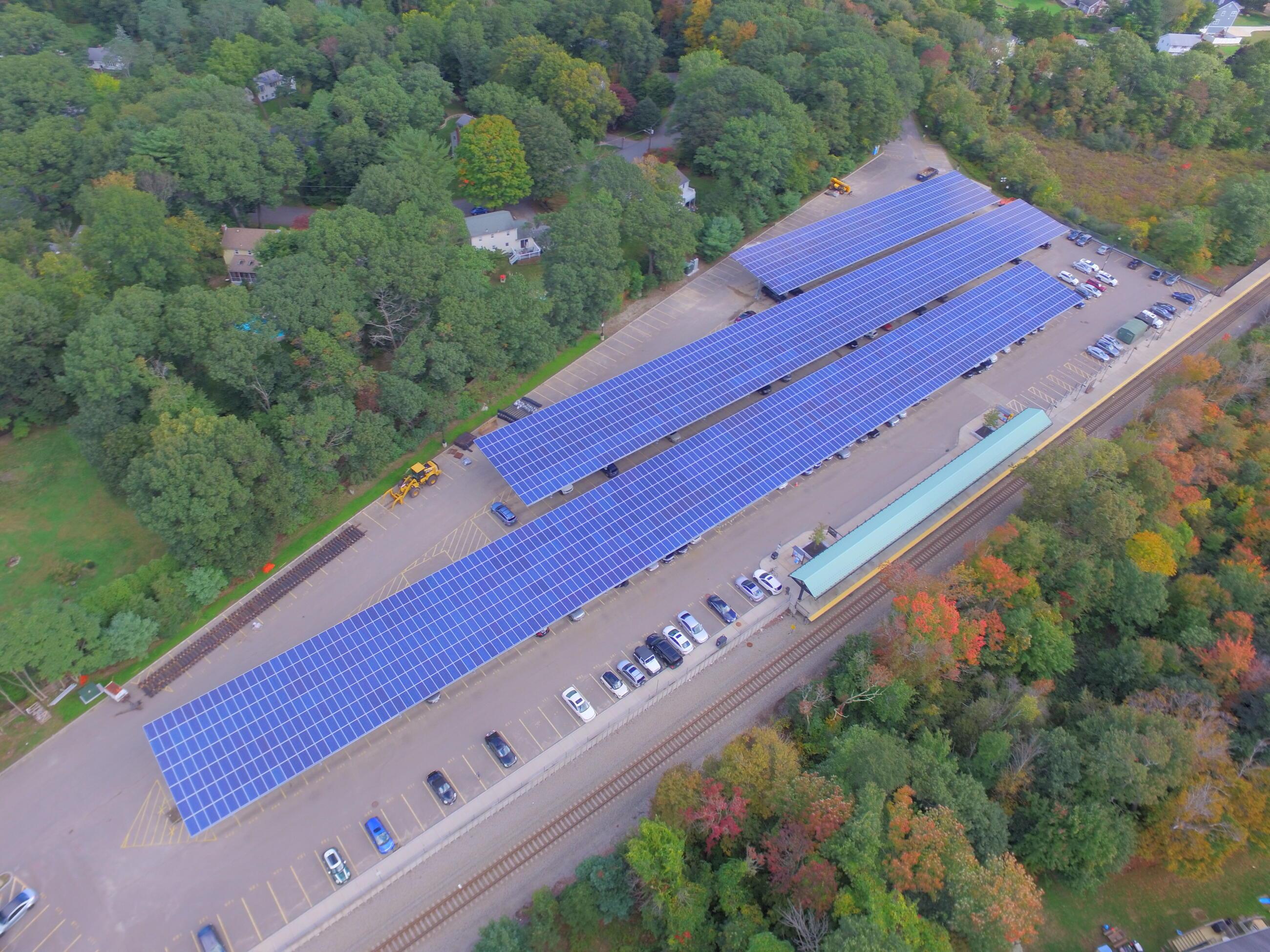 mbta solar canopy at nantasket station parking lot