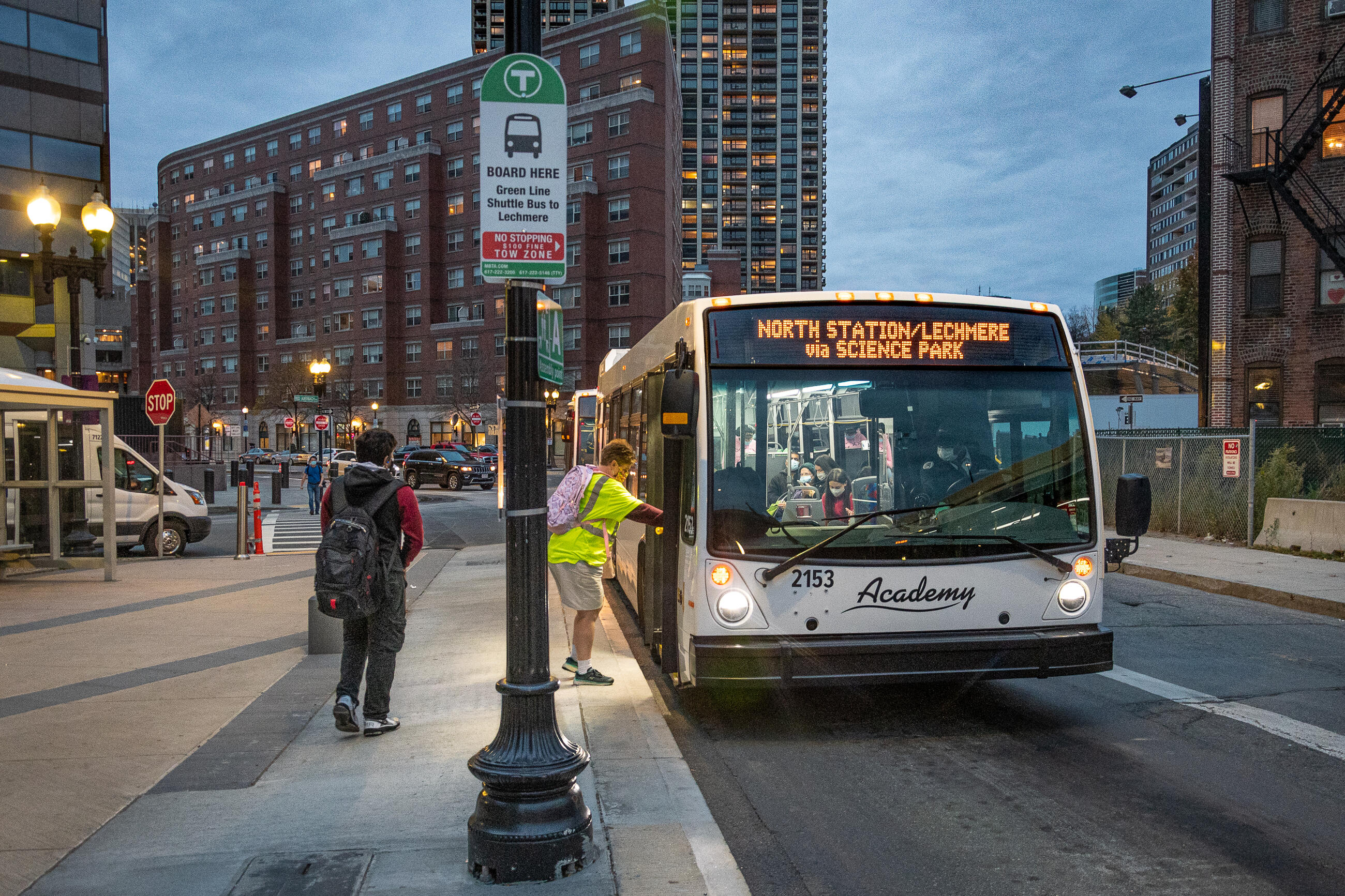 Green Line E bus shuttle picking up at North Station, bound for Lechmere.