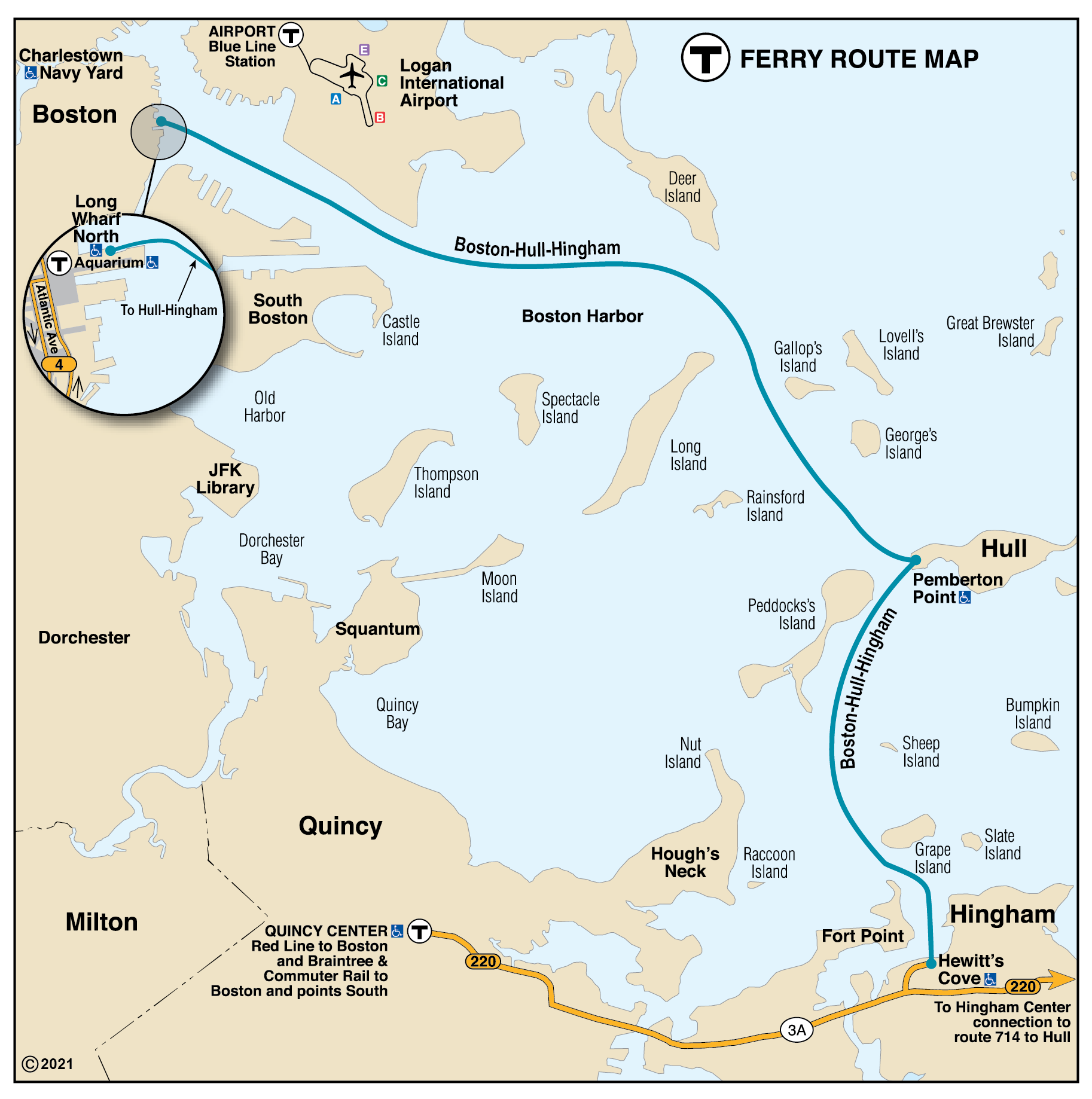 Ferry map with only the Boston-Hull-Hingham (F2H) ferry route, effective Jan 23, 2021