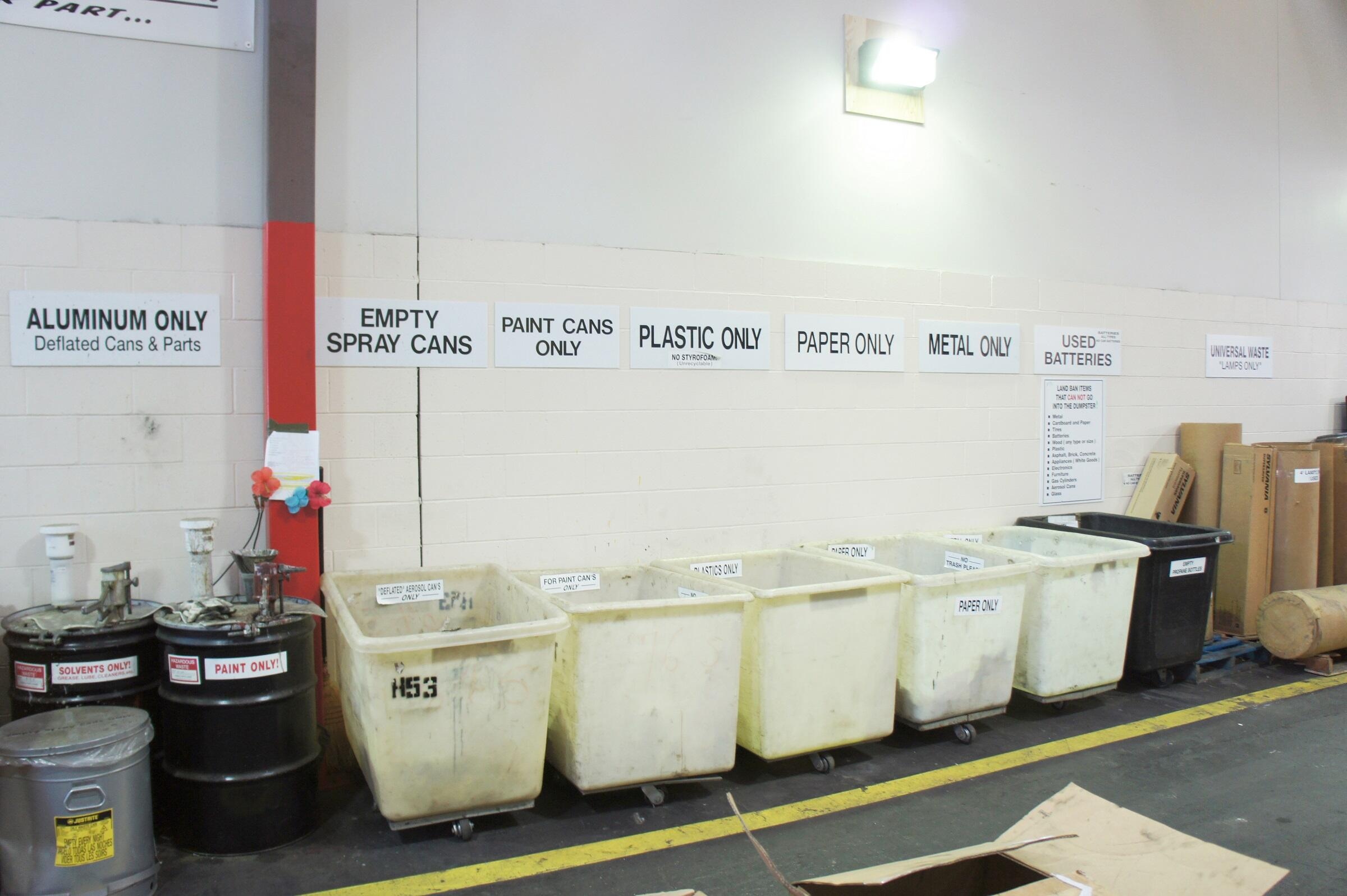 Recycling area in MBTA facility.