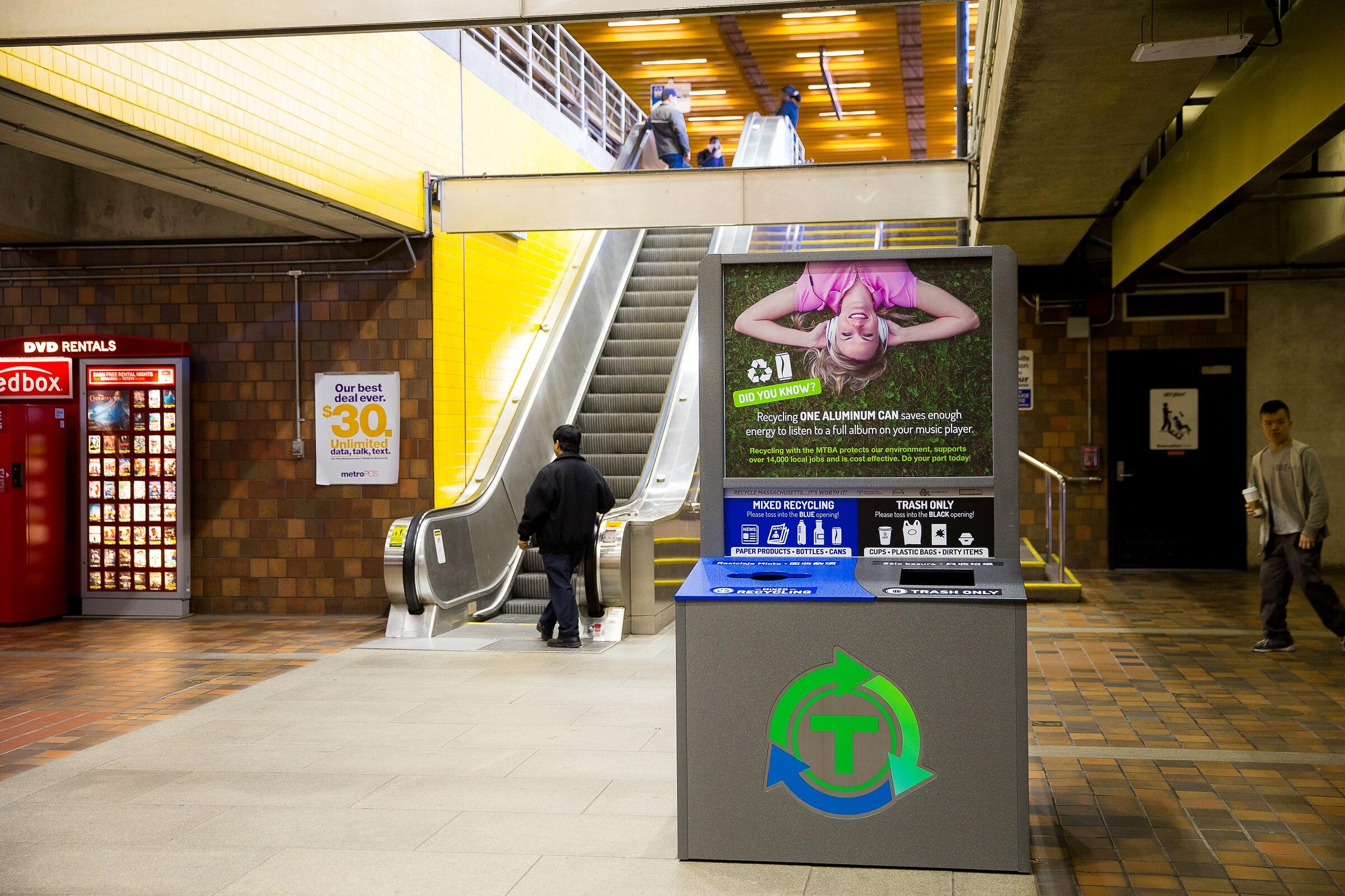 Recycling area in Alewife Station on the Red Line.