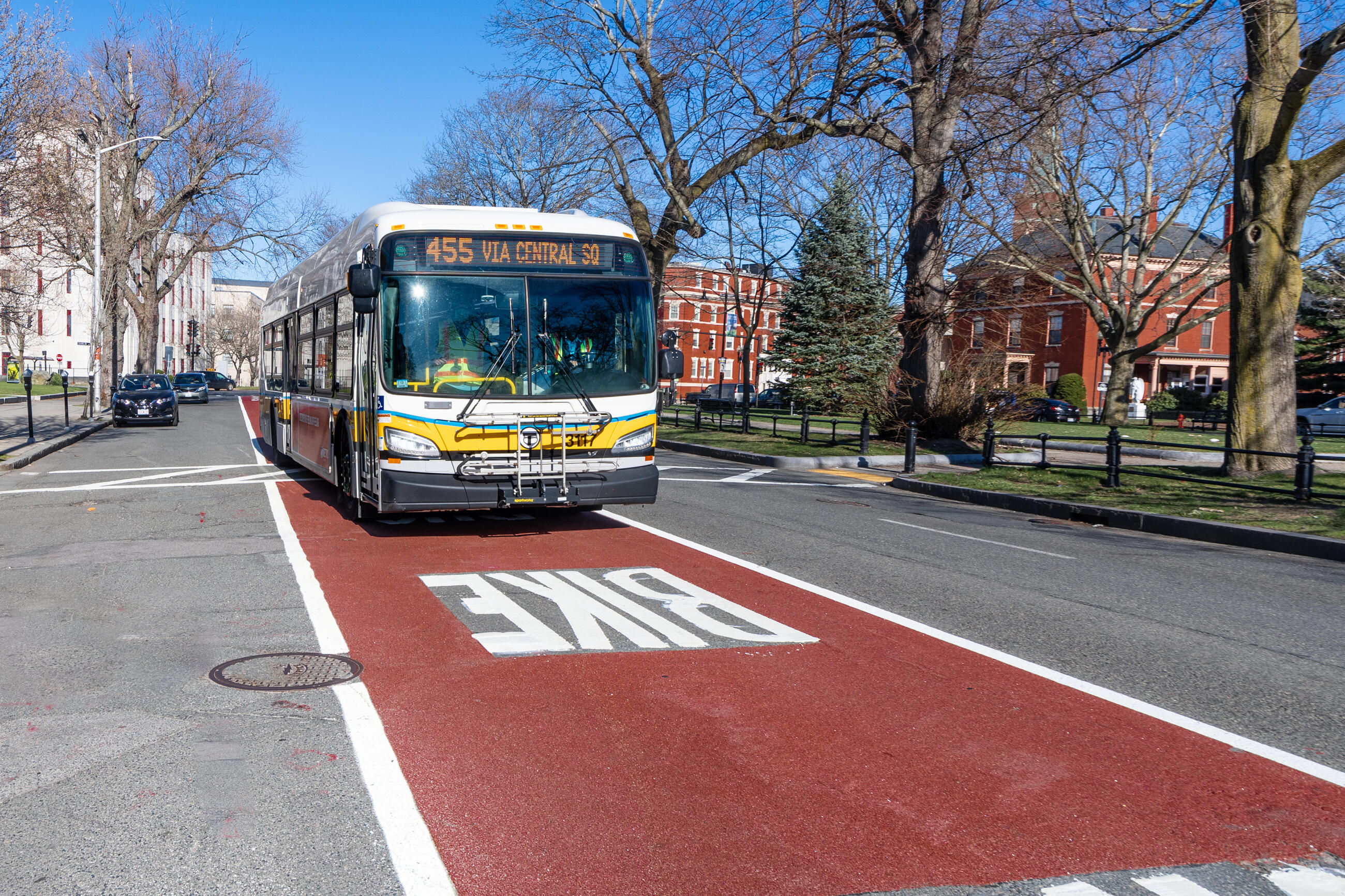 Route 455 bus using the new shared bus-bike lane on North Common St near the Lynn Public Library on April 8, 2021.