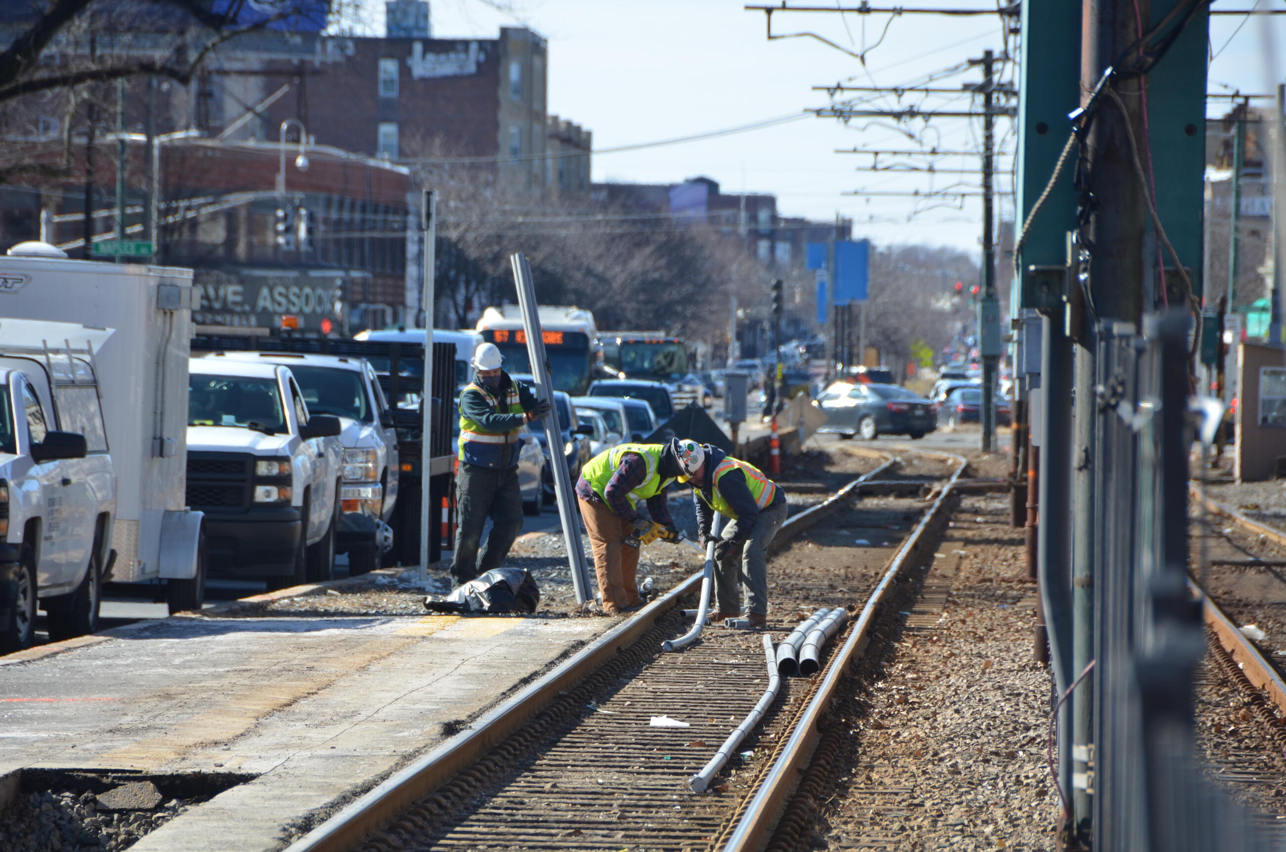 Crews prepare for conduit work as part of the B Branch Station Consolidation