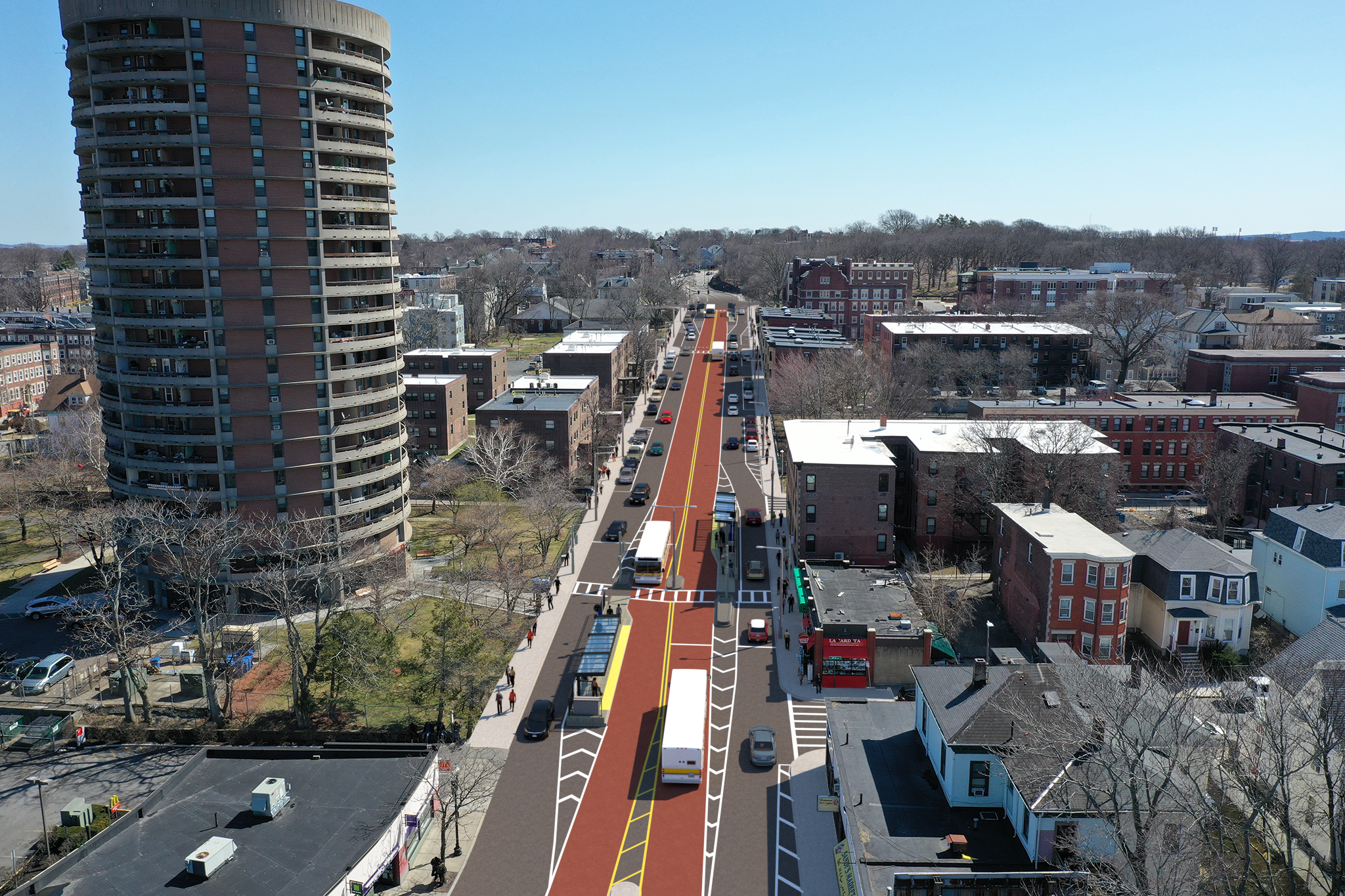 Aerial rendering of transit and pedestrian improvements being constructed on Columbus Avenue near Egleston Square in Boston, which will be completed in 2021.