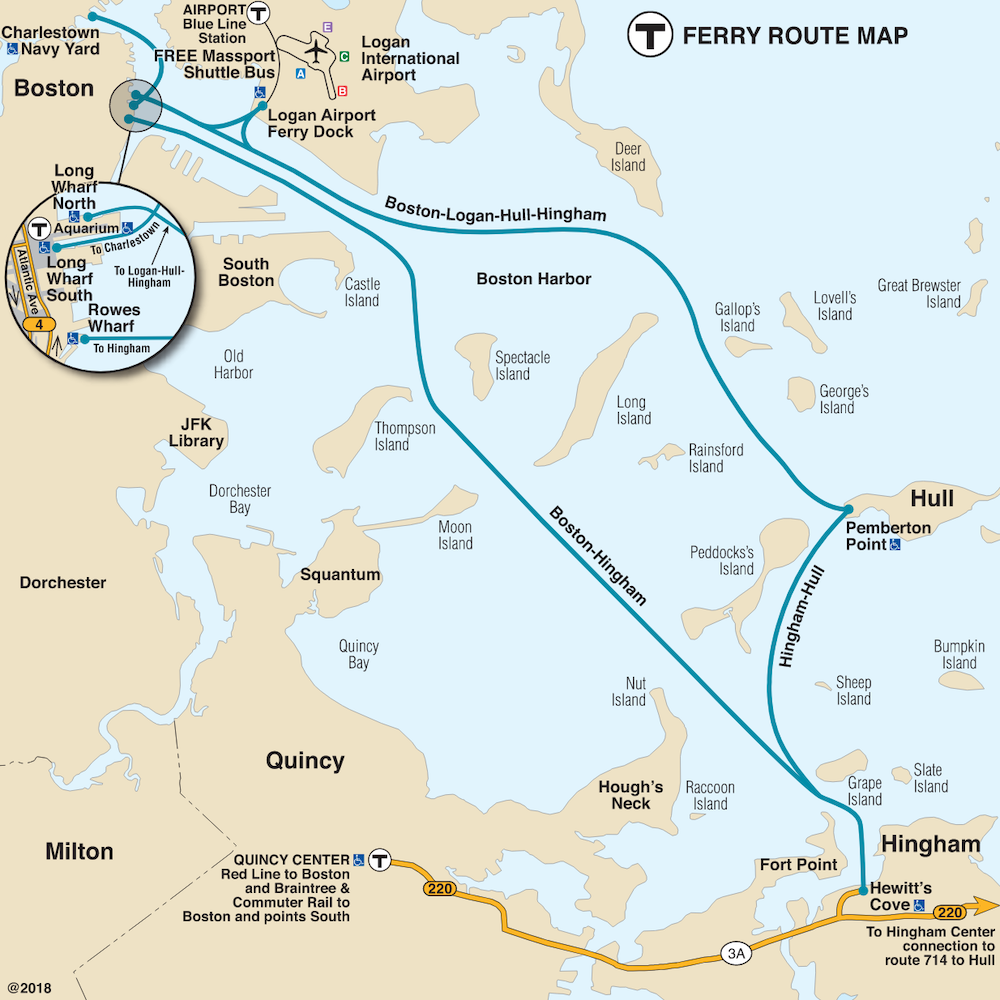 Ferry map, effective May 22, 2021