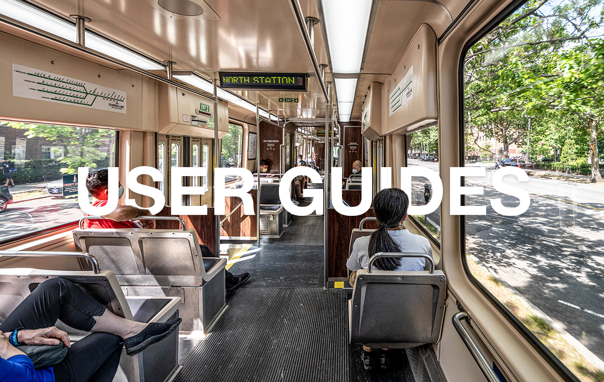Riders on the Green Line in a spring background. Text overlaid: User Guides