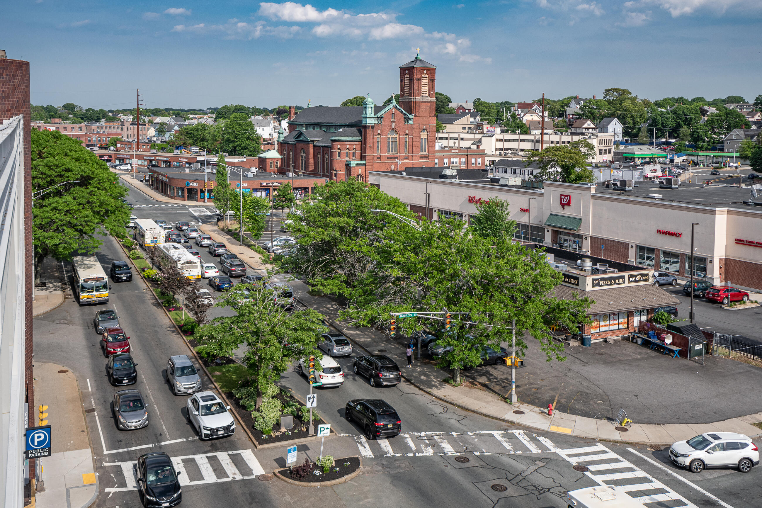 Centre Street near Malden Center Station is the area of highest transit delay within the City of Malden. Quick-build bus and bike lanes aim to improve transit reliability and road safety.
