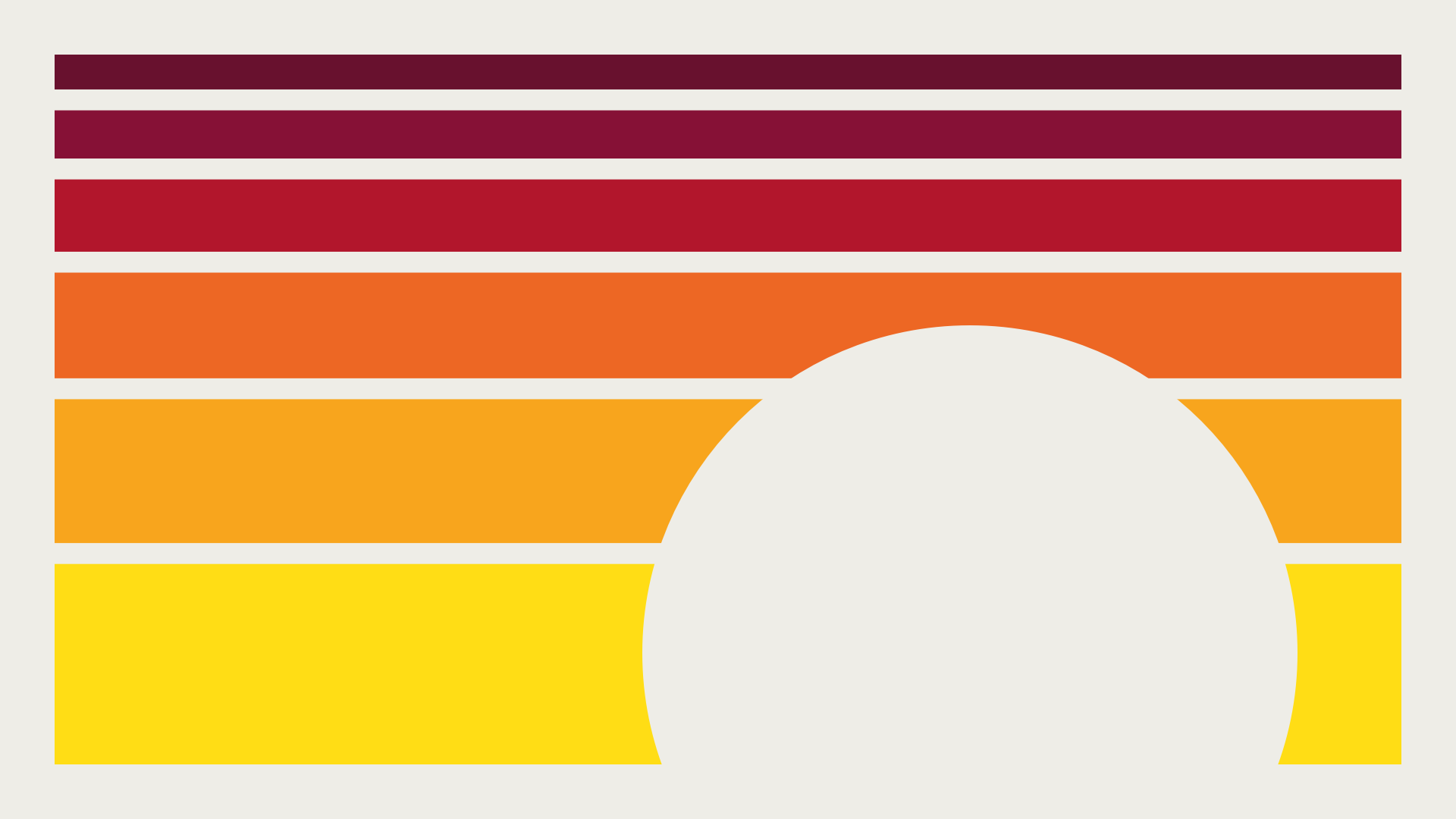 horizontal sunset-colored lines with a circular silhouette