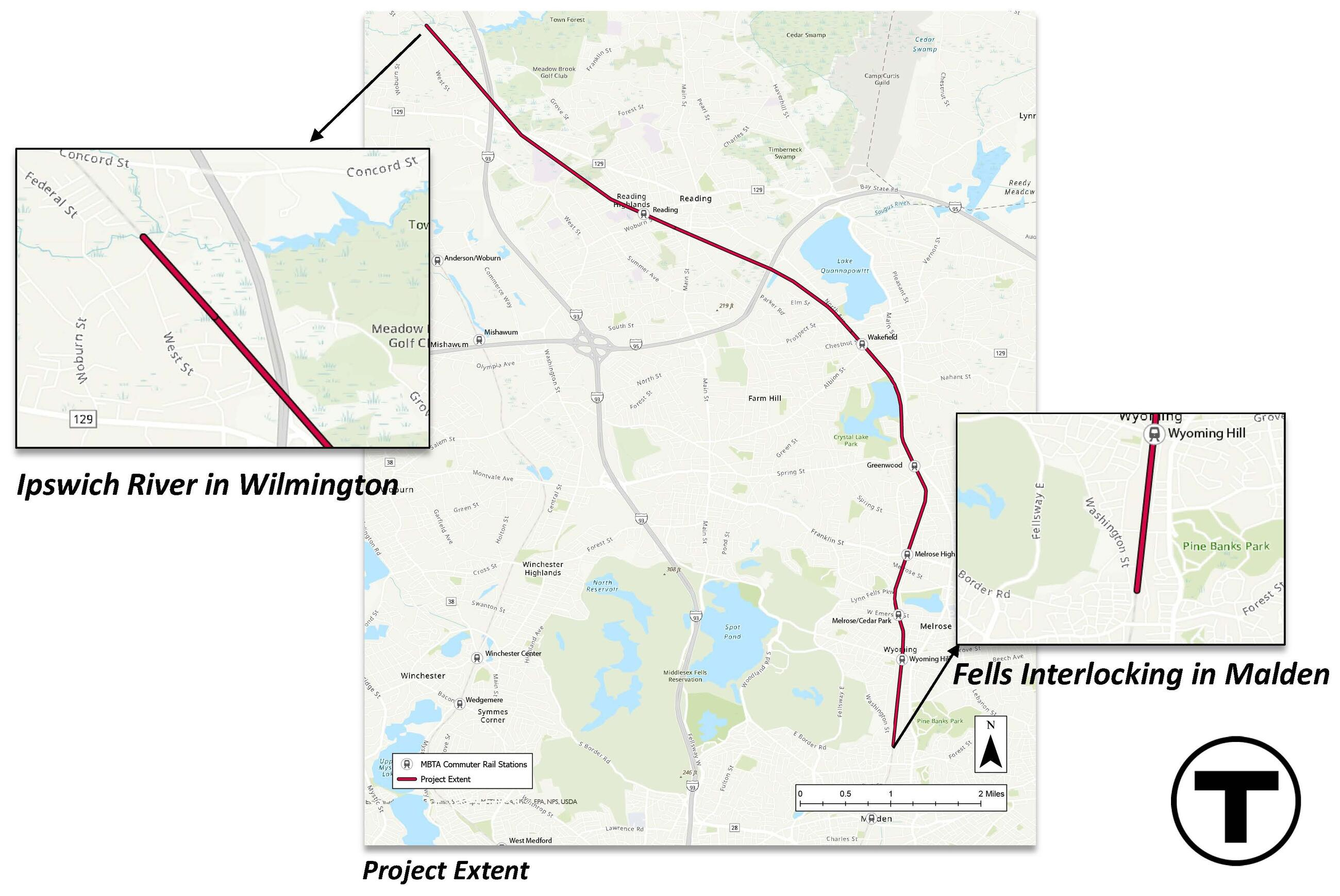 """A map labeled """"project extent"""" shows where work will take place from Wilmington in the northwest to Malden at the southeast. The section of rail to be replaced is in red. Close-ups of the northern end of the work labeled """"Ipswich River in Wilmington"""" and the southern end labeled """"Fells Interlocking in Malden"""" appear at left and right. The segment of rail line to be replaced goes northwest from Malden through Melrose, Wakefield, and Reading and ends in Wilmington."""