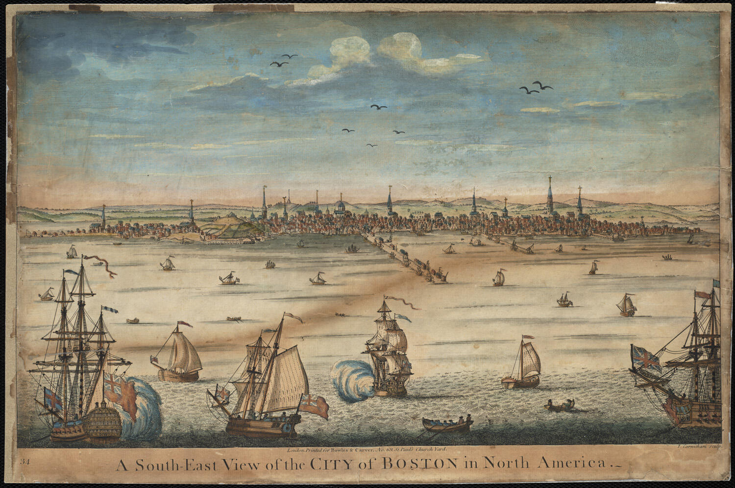 Waterfront illustration of early Boston.
