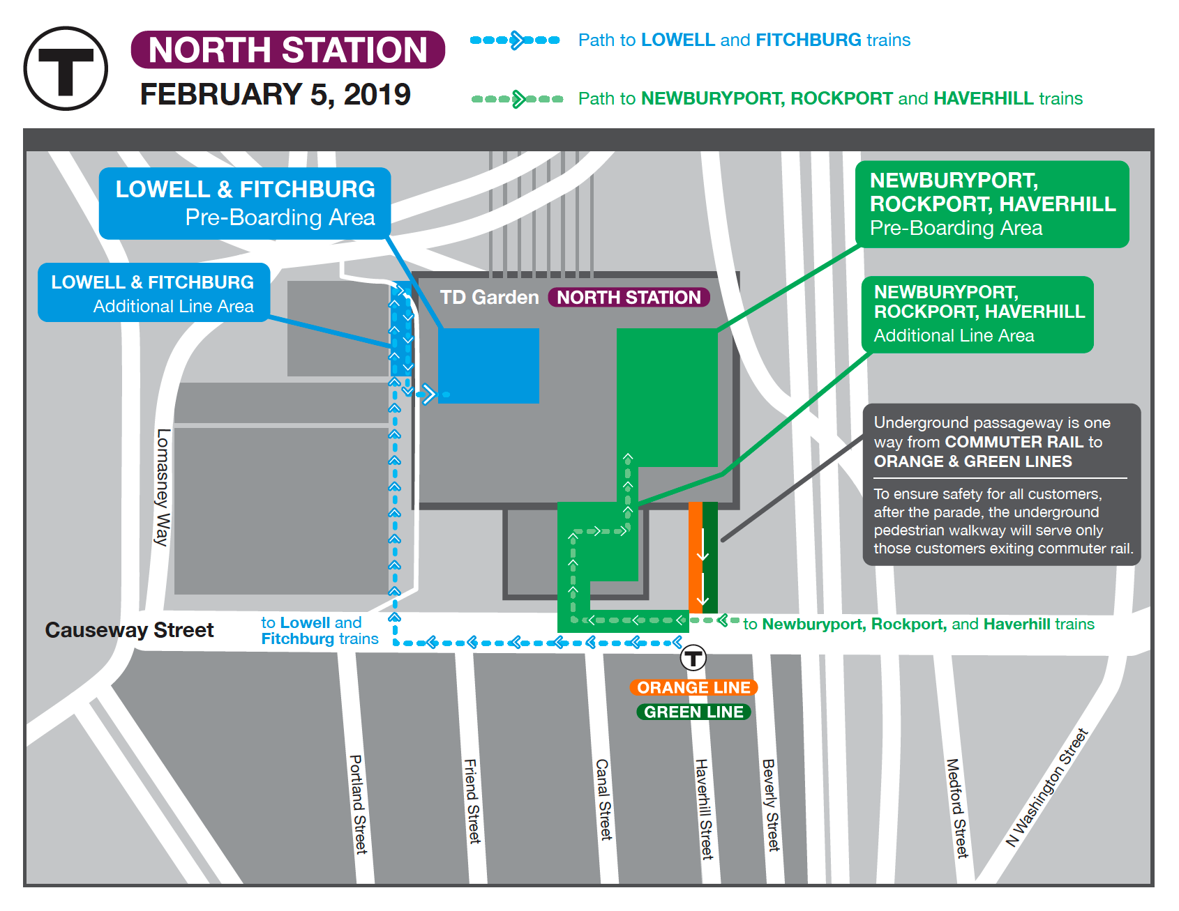 Boarding locations at North Station. Lowell and Fitchburg lines board in the upper left corner, near TD Garden. Newburyport, Rockport, Haverhill lines board from Causeway Street.