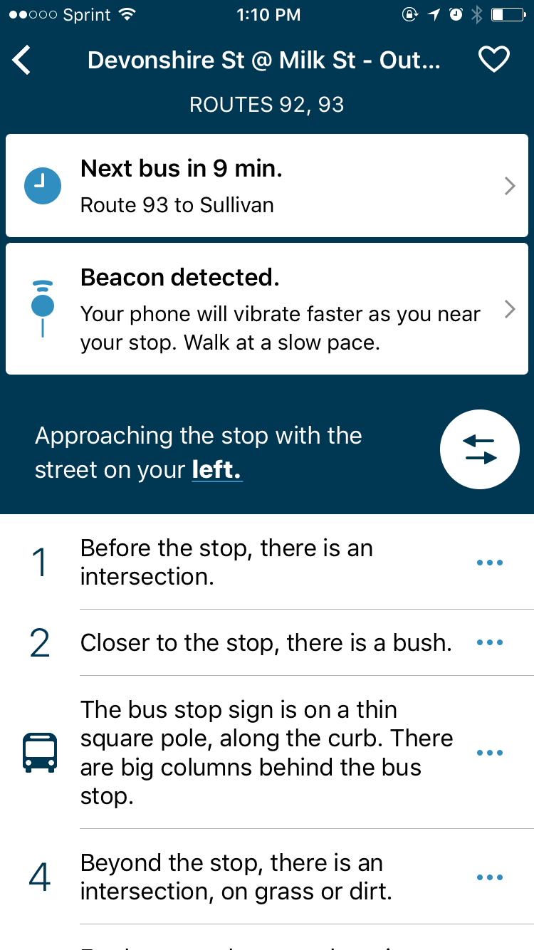 Bus stop details in the BlindWays app
