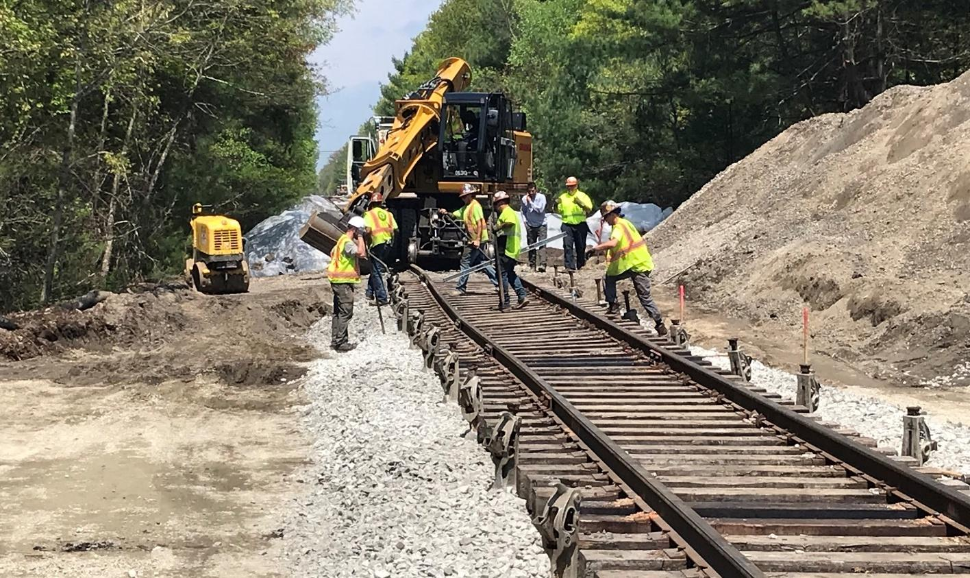 Workers restore tracks as part of the South Coast Rail project (May 2019)