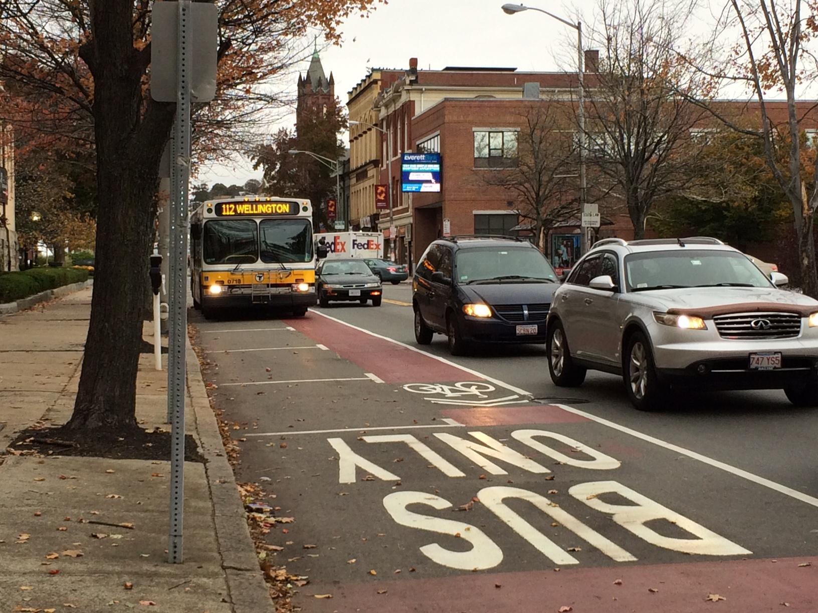 Bus lane on Broadway in Everett