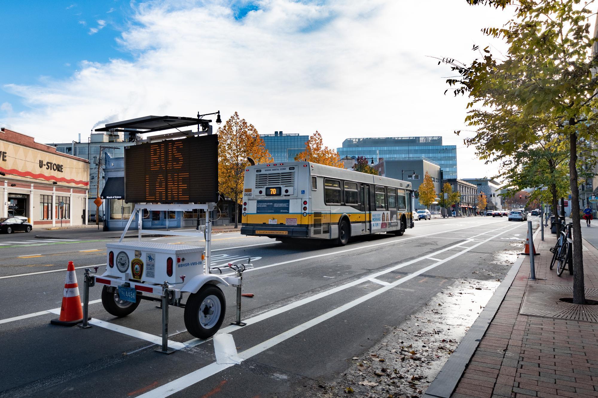 Bus lane on Massachusetts Ave in Cambridge, near Central Square (November 2018)