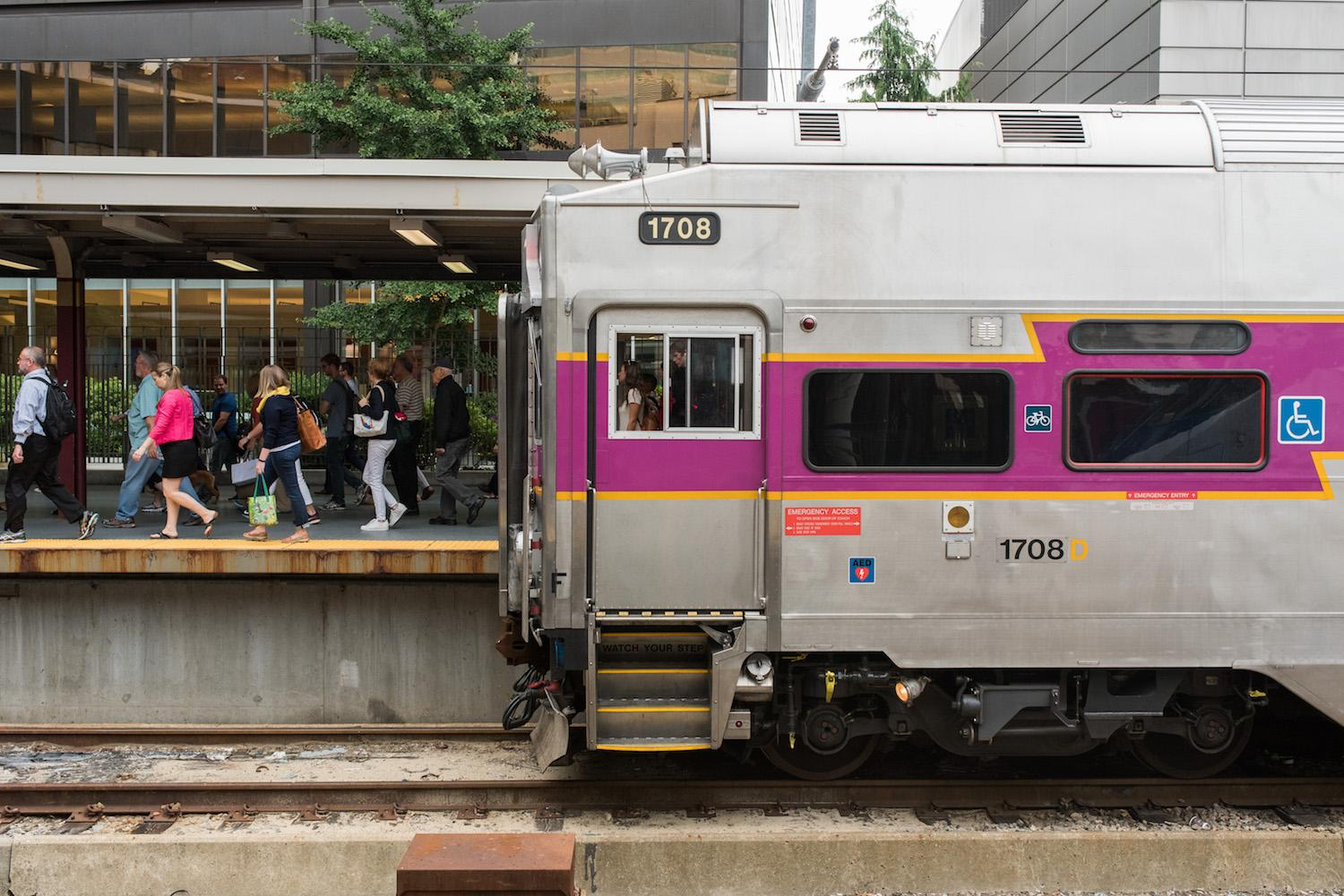 Commuter Rail train at South Station, with passengers disembarking