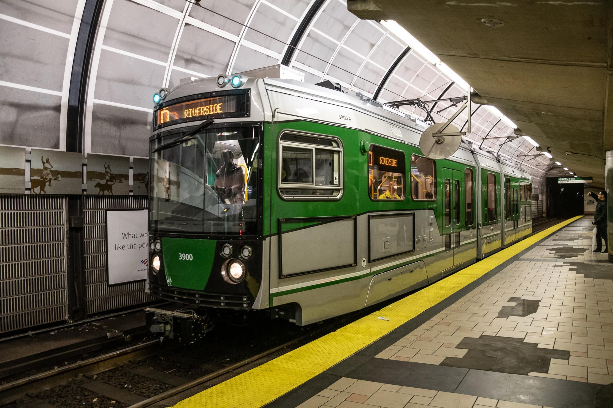 New Green Line Type 9 car pulling into North Station platform