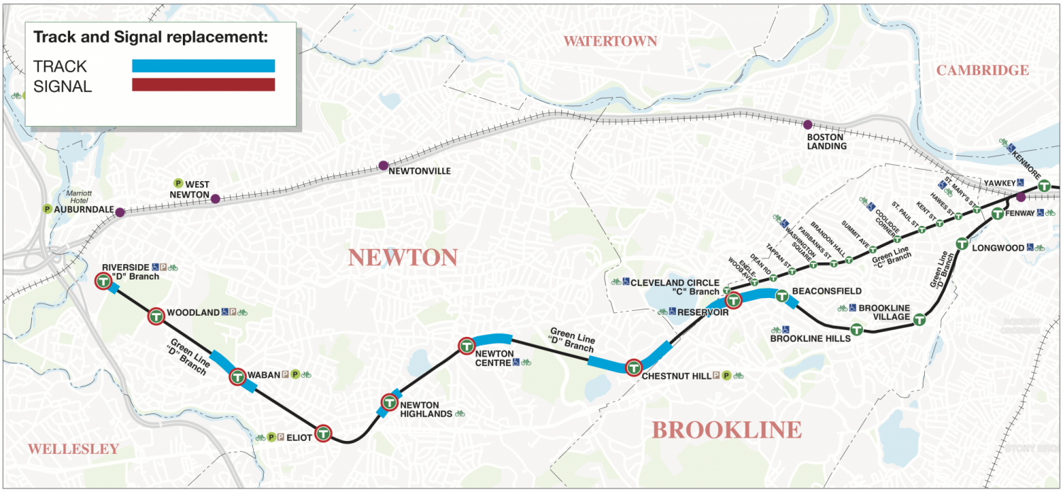 A map of the Green Line D branch and designated areas of track and signal improvements around individual stations.