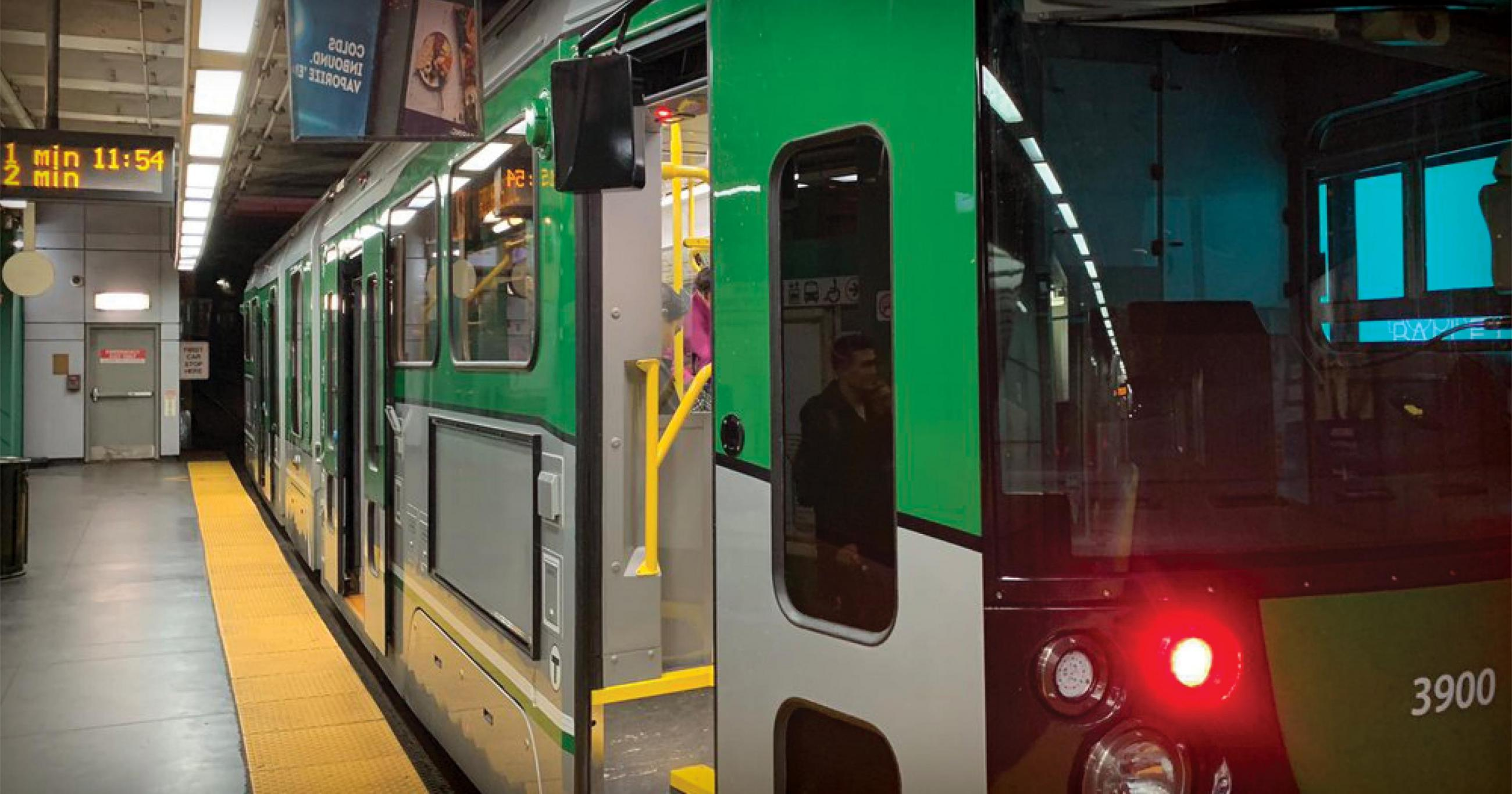 New Green Line car at Government Center platform