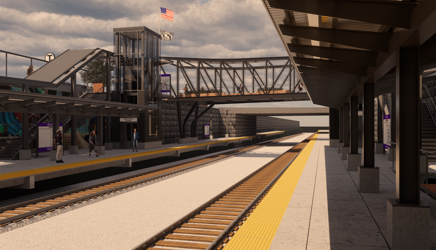 Rendering of the station elements, viewed from the platform