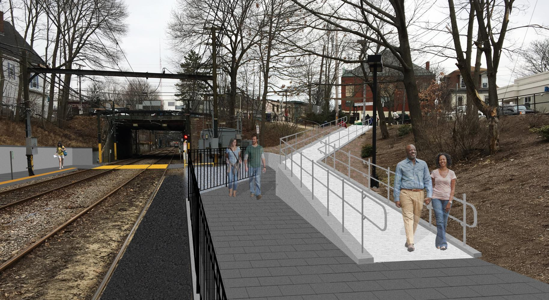 Rendering of the planned ramp from Walnut St to the platform below