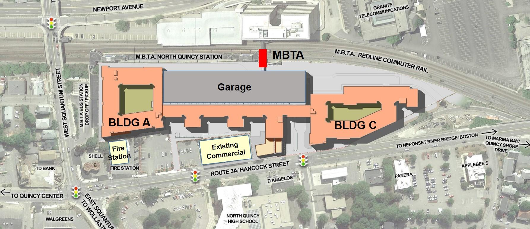 North Quincy construction site map for new garage and buildings