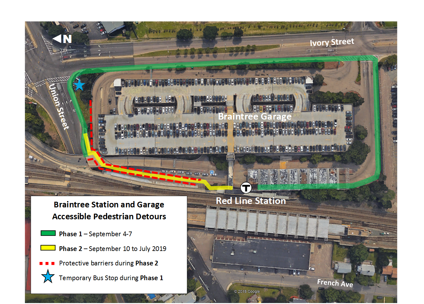 Braintree Accessible Pedestrian Detour Map (2 Phases)