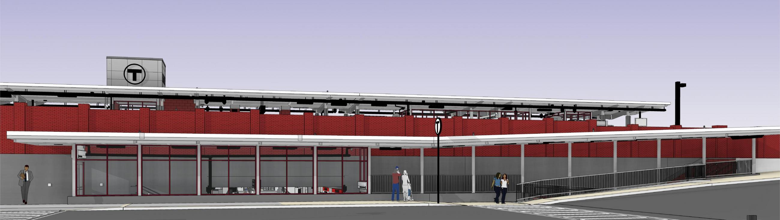 Rendering of planned improvements to Wollaston Station, as viewed from Brook Street