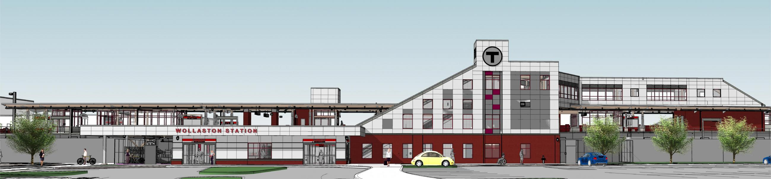 Rendering of planned improvements to Wollaston Station, as viewed from the parking lot
