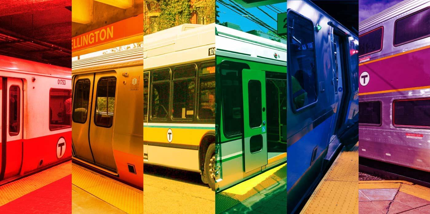 Rainbow colors using MBTA vehicles: Red Line car, Orange Line car, yellow from the side of a bus, Green Line car, Blue Line car, purple on a Commuter Rail car