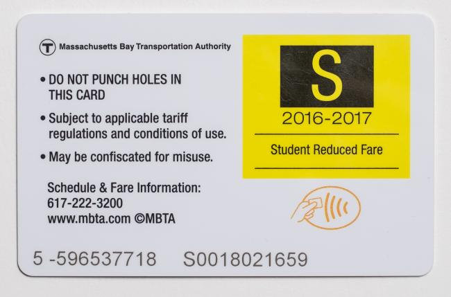 The back of a Student CharlieCard, the S Card
