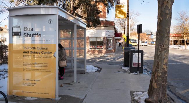 Wollaston bus shuttle shelter