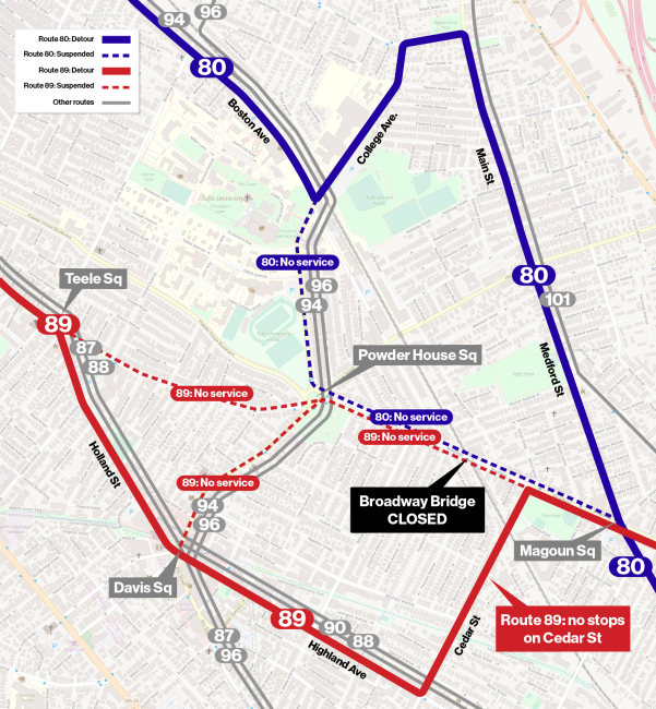 Bus routes 89 and 90 detour map