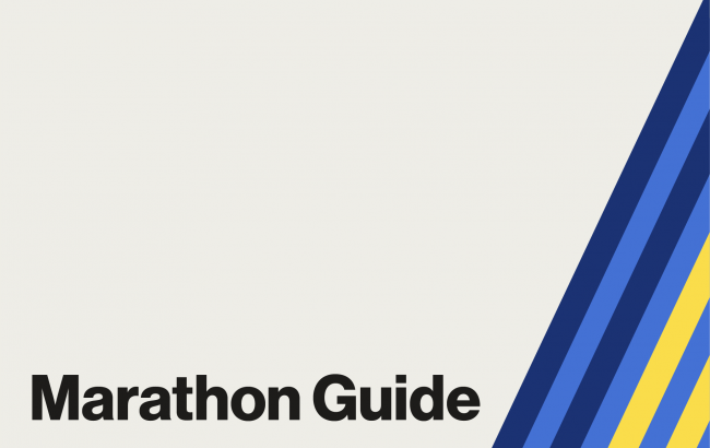 Clickable graphic for the Boston Marathon Guide, with blue and yellow stripes