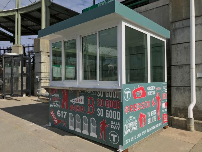 Red Sox booth at Riverside Station, where pre-loaded CharlieCards will be sold