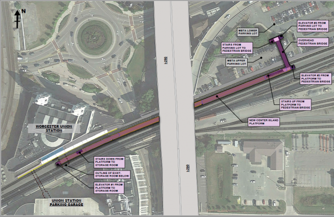 Proposed construction plans for Worcester Union Station