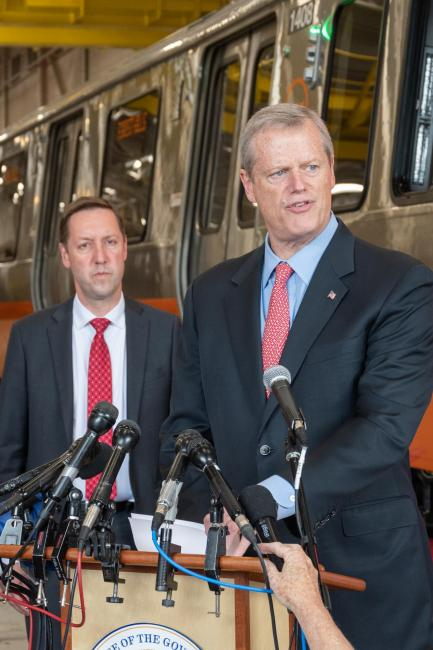 MBTA General Manager Steve Poftak and Governor Charlie Baker at a press conference at the Wellington Station