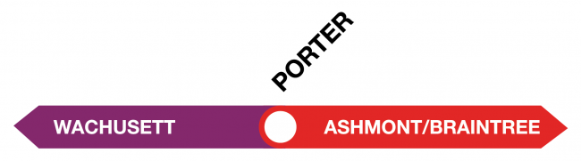 Graphic showing the Fitchburg Line terminating at Porter, where riders can switch to Red Line service.