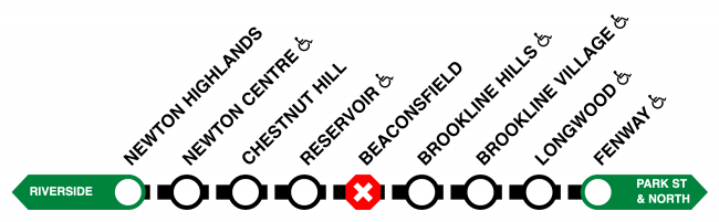 Bus shuttles run between Newton Highlands and Fenway, with no shuttle service at Beaconsfield.