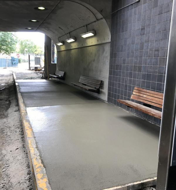 Newly poured concrete landing pads in the lower busway