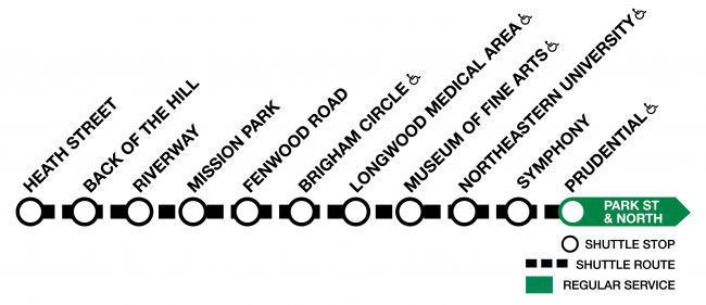 Graphic of the Green Line E, with shuttles running between Heath Street and Prudential