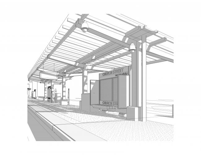 A rendering of the new Church Street Station in New Bedford on the New Bedford Line of the South Coast Rail (May 2020)