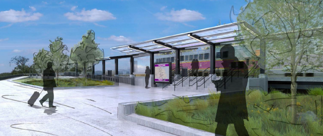A rendering of the new Freetown Station in Freetown on the Fall River Secondary Line of the South Coast Rail (May 2020)