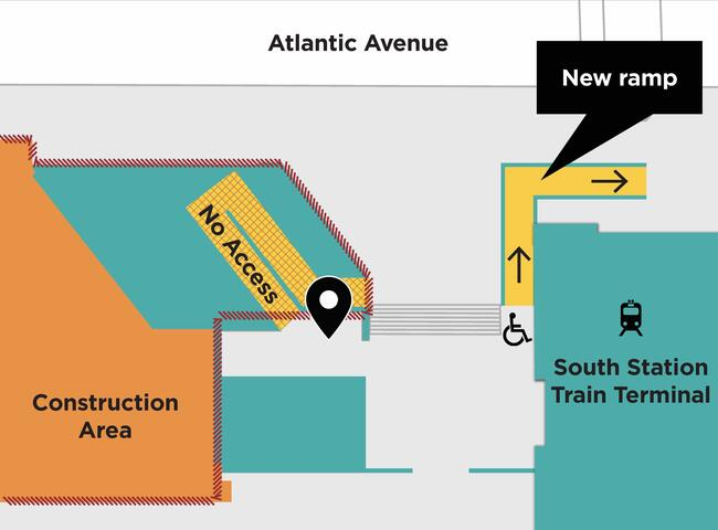 Map showing the L-shaped Atlantic Ave ramp on the corner of the South Station train terminal. See text for details.