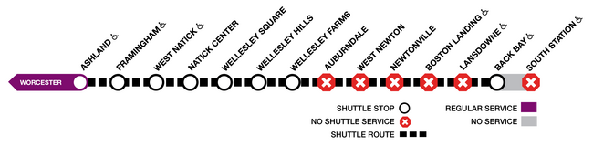 Shuttles make all local stops between Ashland and Wellesley Farms, and then run express to Back Bay.