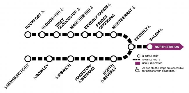 Shuttles run between Salem and Newburyport/Rockport.